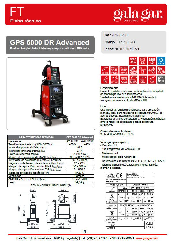 Ficha Tecnica GPS 5000 DR Advanced
